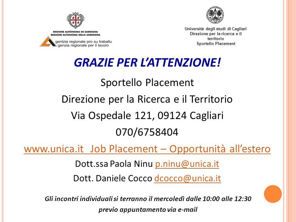 Università degli studi di Cagliari Direzione per la ricerca e il territorio Sportello Placement GRAZIE PER LATTENZIONE! Sportello Placement Direzione