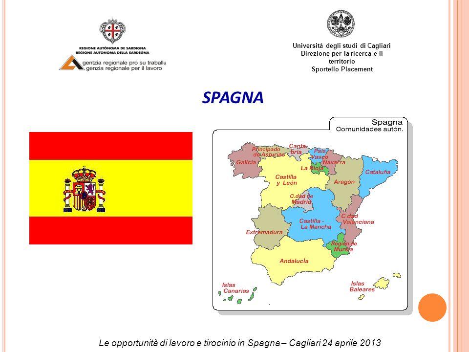 Università degli studi di Cagliari Direzione per la ricerca e il territorio Sportello Placement SPAGNA Le opportunità di lavoro e tirocinio in Spagna