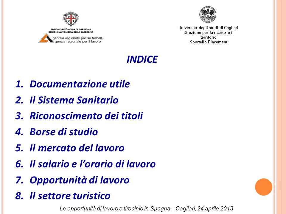 Università degli studi di Cagliari Direzione per la ricerca e il territorio Sportello Placement INDICE 1.Documentazione utile 2.Il Sistema Sanitario 3