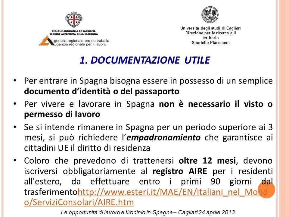 Università degli studi di Cagliari Direzione per la ricerca e il territorio Sportello Placement 1. DOCUMENTAZIONE UTILE Per entrare in Spagna bisogna