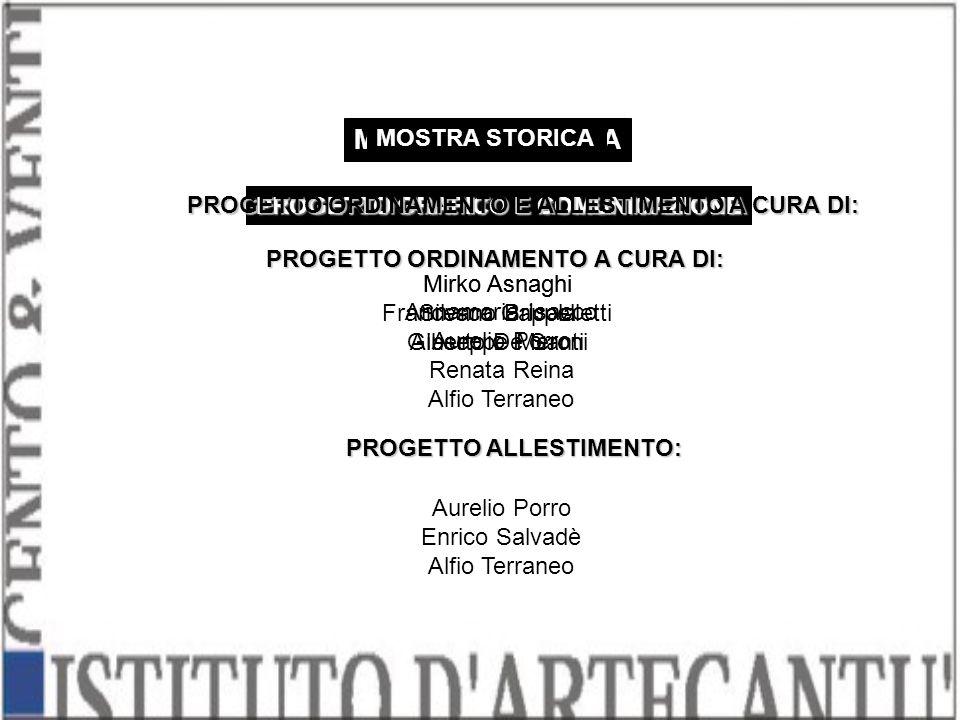 PROGETTO GRAFICO E COMUNICAZIONE Mirko Asnaghi Silvano Bricola Alberto De Santi MOSTRA DIDATTICA PROGETTO ORDINAMENTO E ALLESTIMENTO A CURA DI: Mirko