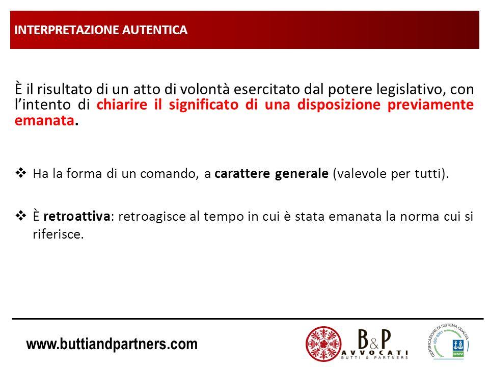 www.buttiandpartners.com INTERPRETAZIONE AUTENTICA (esempi): Nozione di «rifiuto» Il Decreto Legislativo n.