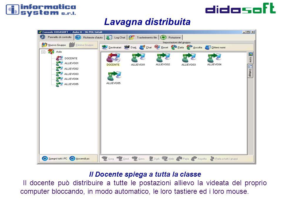 Il software di rete didattica DIDASOFT richiede esclusivamente la presenza di una rete dati standard (anche Wire Less) e non necessita dell installazione di alcuna altro hardware aggiuntivo.