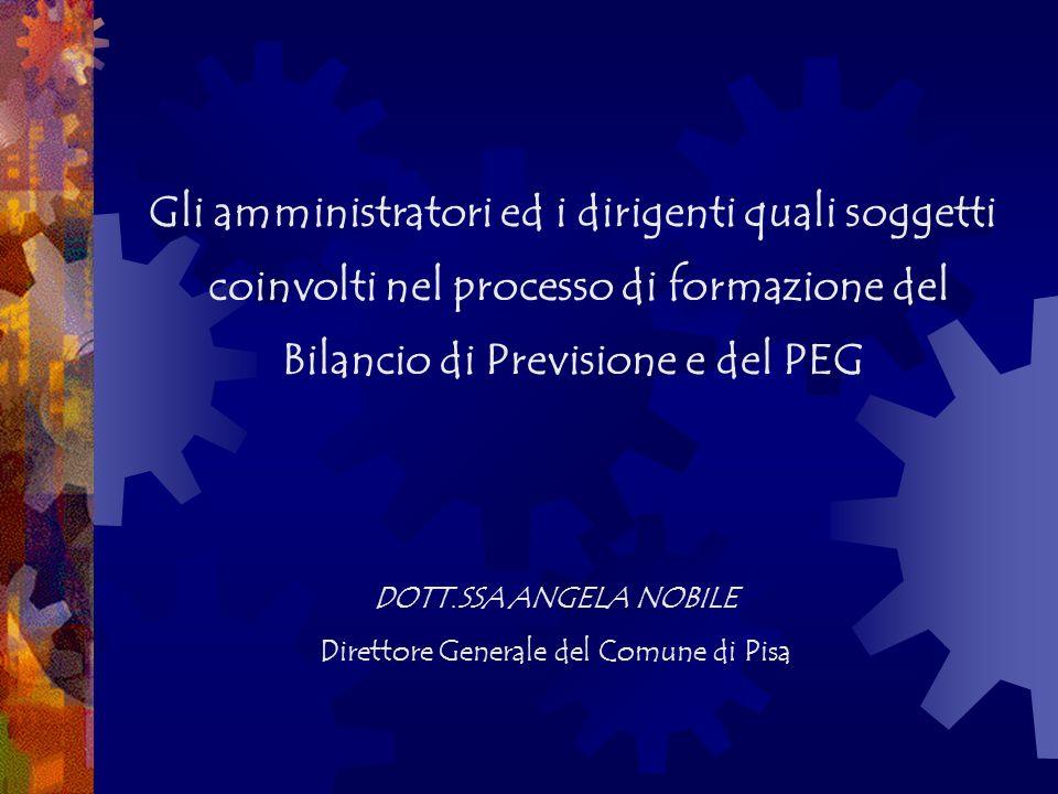Gli amministratori ed i dirigenti quali soggetti coinvolti nel processo di formazione del Bilancio di Previsione e del PEG DOTT.SSA ANGELA NOBILE Direttore Generale del Comune di Pisa