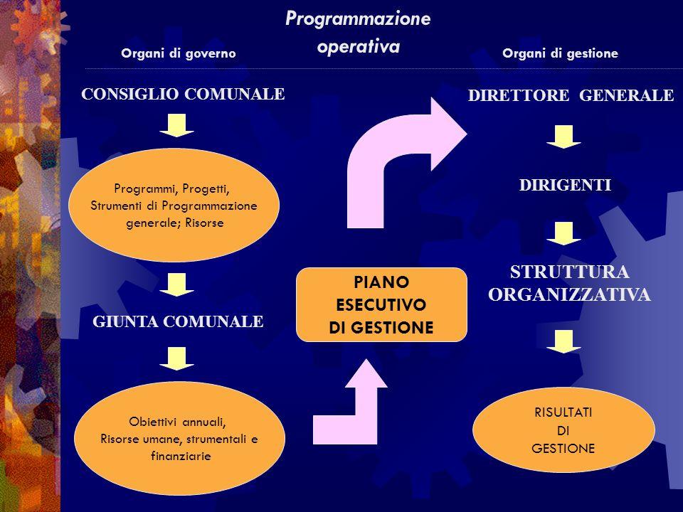 CONSIGLIO COMUNALE Organi di governo GIUNTA COMUNALE Obiettivi annuali, Risorse umane, strumentali e finanziarie PIANO ESECUTIVO DI GESTIONE RISULTATI