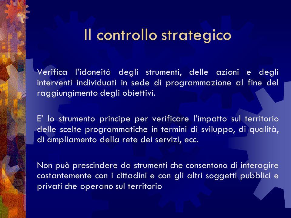 Il controllo strategico Verifica lidoneità degli strumenti, delle azioni e degli interventi individuati in sede di programmazione al fine del raggiungimento degli obiettivi.
