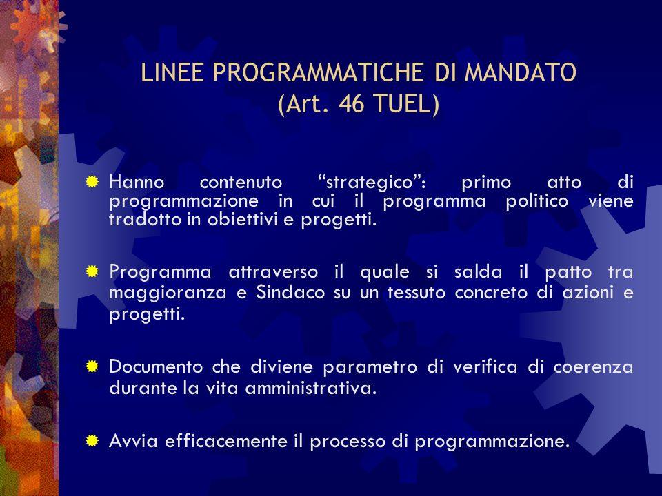 LINEE PROGRAMMATICHE DI MANDATO (Art. 46 TUEL) Hanno contenuto strategico: primo atto di programmazione in cui il programma politico viene tradotto in