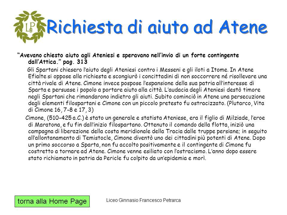 torna alla Home Page Liceo Ginnasio Francesco Petrarca Richiesta di aiuto ad Atene Avevano chiesto aiuto agli Ateniesi e speravano nellinvio di un for