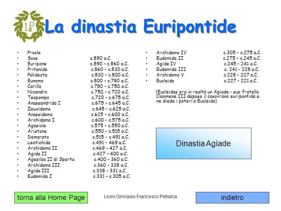 torna alla Home Page Liceo Ginnasio Francesco Petrarca La dinastia Euripontide Procle Soos c.890 a.C. Euripone c.890 - c.860 a.C. Pritanide c.860 - c.