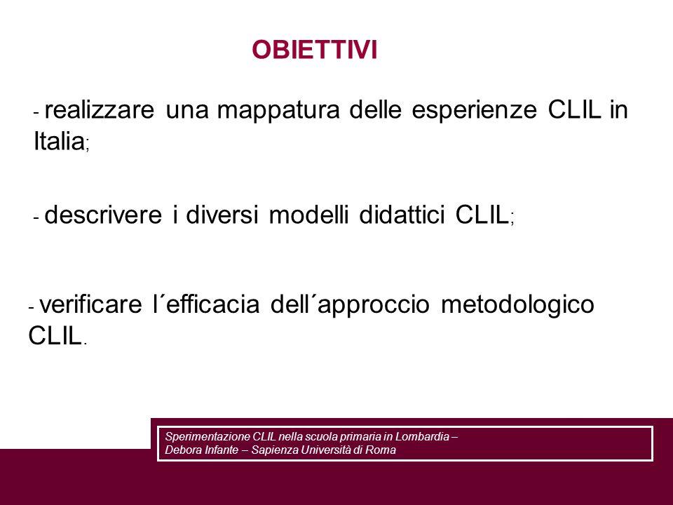 - realizzare una mappatura delle esperienze CLIL in Italia ; - verificare l´efficacia dell´approccio metodologico CLIL. - descrivere i diversi modelli