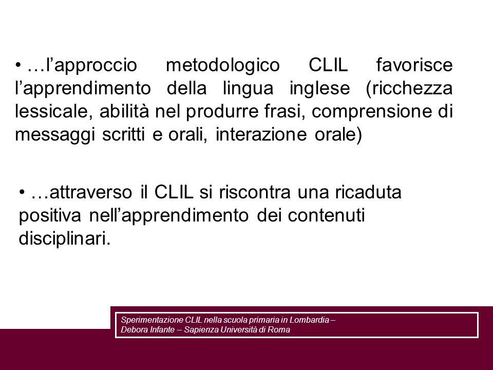 …lapproccio metodologico CLIL favorisce lapprendimento della lingua inglese (ricchezza lessicale, abilità nel produrre frasi, comprensione di messaggi