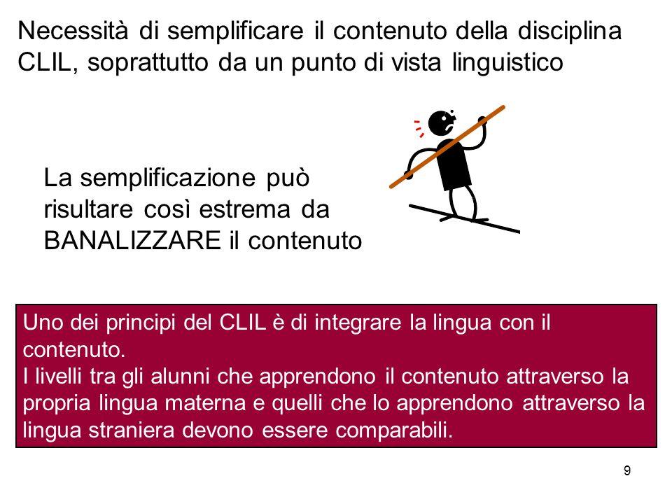 Necessità di semplificare il contenuto della disciplina CLIL, soprattutto da un punto di vista linguistico in Italian 9 La semplificazione può risulta
