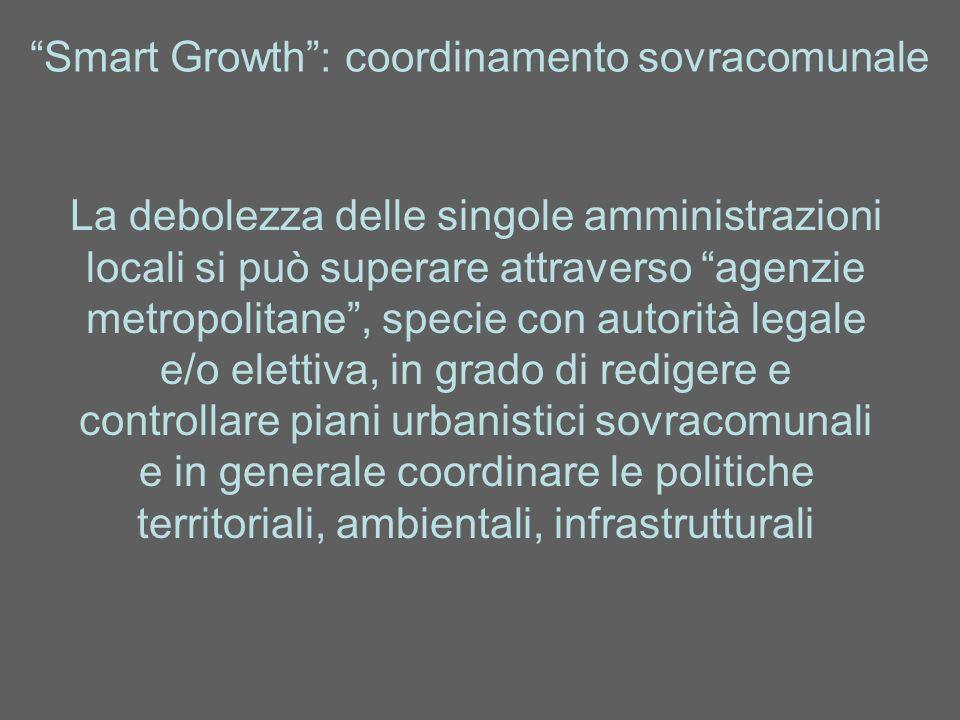 Smart Growth: coordinamento sovracomunale La debolezza delle singole amministrazioni locali si può superare attraverso agenzie metropolitane, specie c