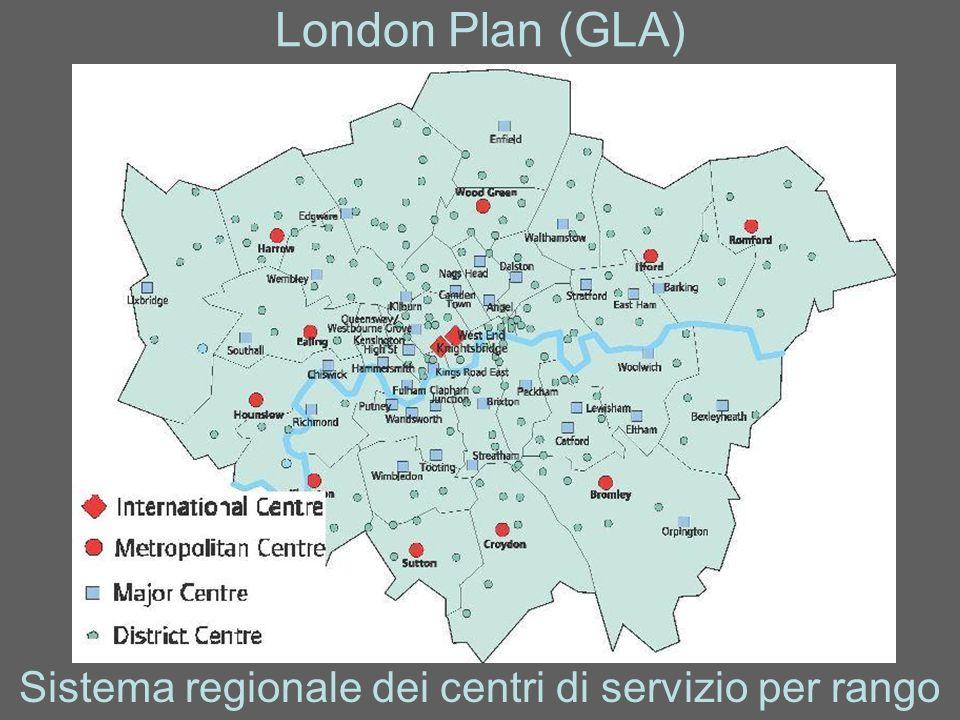 London Plan (GLA) Sistema regionale dei centri di servizio per rango
