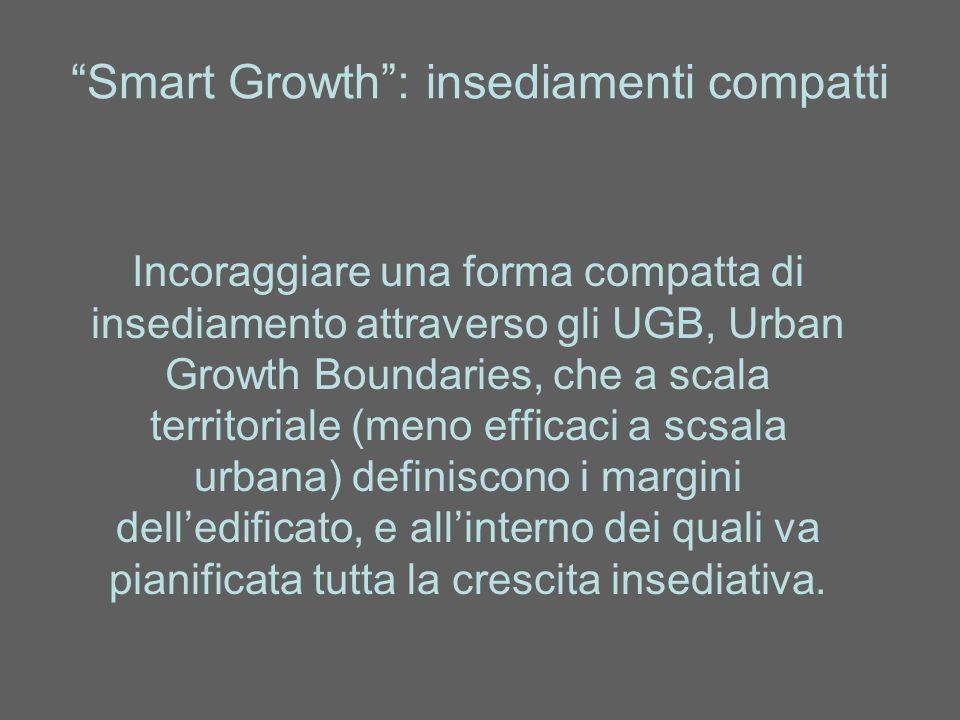 Smart Growth: coordinamento sovracomunale La debolezza delle singole amministrazioni locali si può superare attraverso agenzie metropolitane, specie con autorità legale e/o elettiva, in grado di redigere e controllare piani urbanistici sovracomunali e in generale coordinare le politiche territoriali, ambientali, infrastrutturali