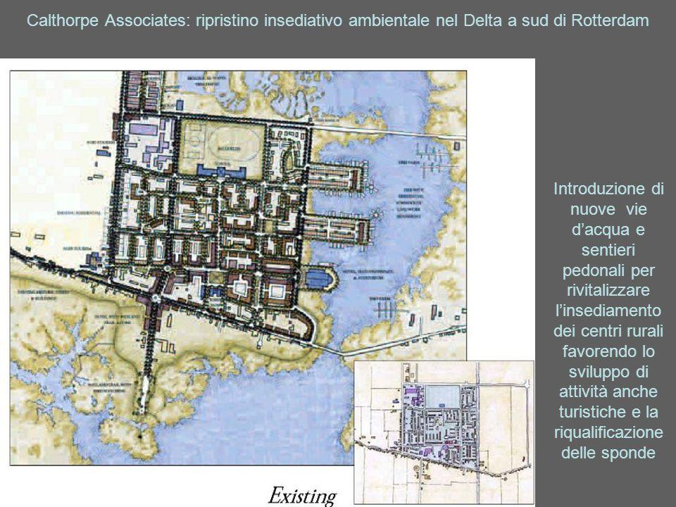 Calthorpe Associates: ripristino insediativo ambientale nel Delta a sud di Rotterdam Introduzione di nuove vie dacqua e sentieri pedonali per rivitali