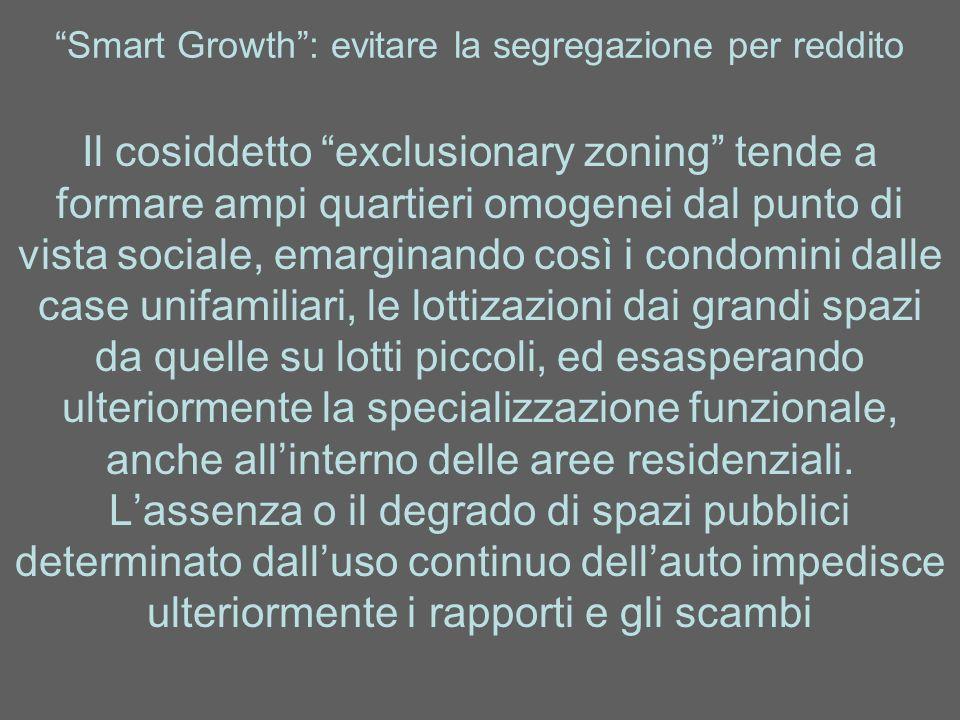 Smart Growth: evitare la segregazione per reddito Il cosiddetto exclusionary zoning tende a formare ampi quartieri omogenei dal punto di vista sociale