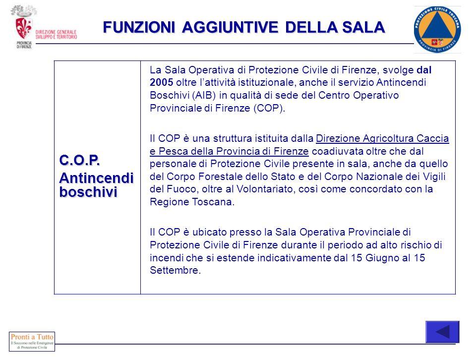 COONE C.O.P. Antincendi boschivi La Sala Operativa di Protezione Civile di Firenze, svolge dal 2005 oltre lattività istituzionale, anche il servizio A