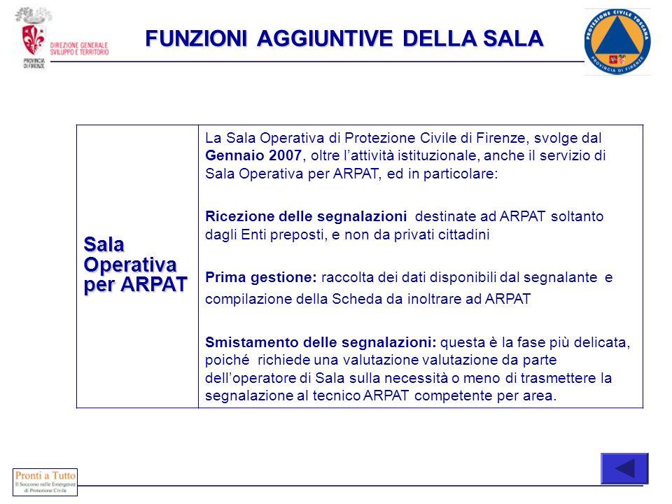 COONE Sala Operativa per ARPAT La Sala Operativa di Protezione Civile di Firenze, svolge dal Gennaio 2007, oltre lattività istituzionale, anche il ser