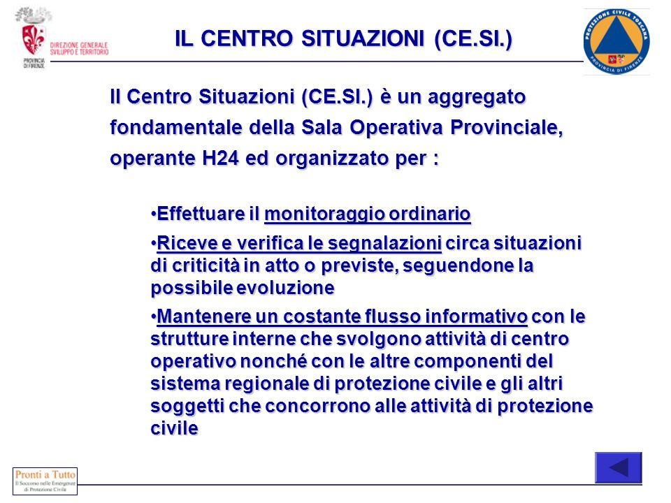 COONE Il Centro Situazioni (CE.SI.) è un aggregato fondamentale della Sala Operativa Provinciale, operante H24 ed organizzato per : Effettuare il moni