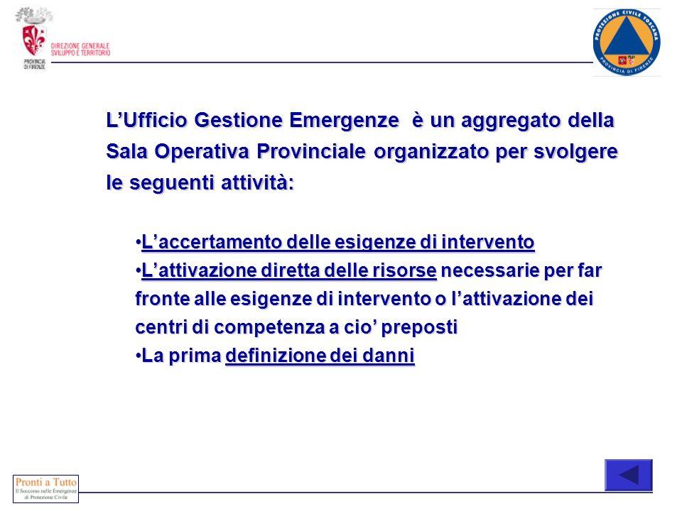 COONE LUfficio Gestione Emergenze è un aggregato della Sala Operativa Provinciale organizzato per svolgere le seguenti attività: Laccertamento delle e