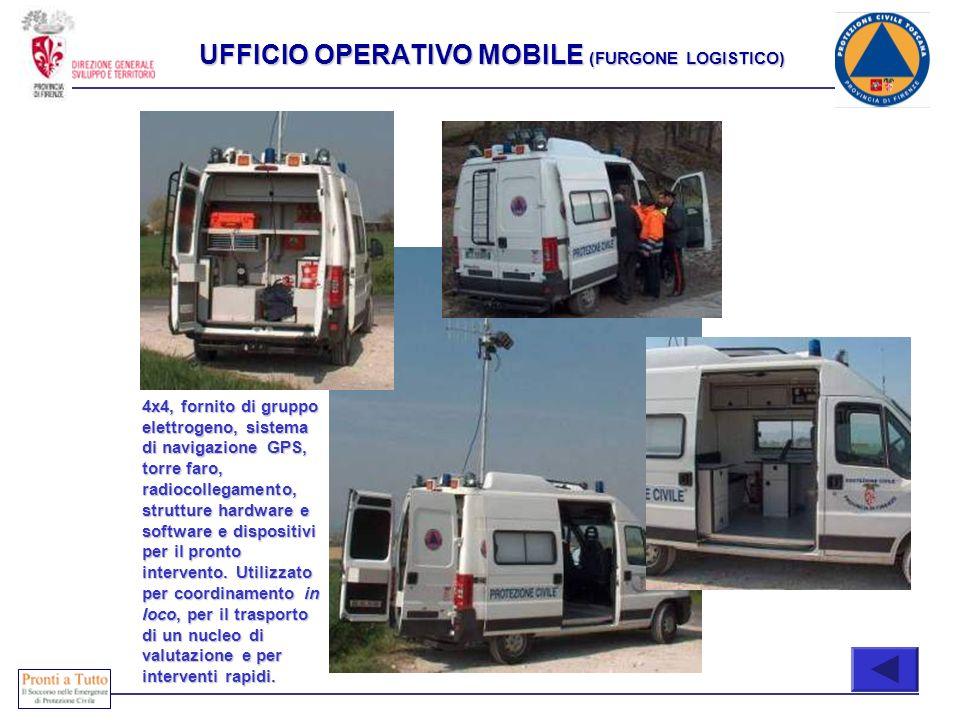 Immediatamente attivabili COMPOSIZIONE 4x4, fornito di gruppo elettrogeno, sistema di navigazione GPS, torre faro, radiocollegamento, strutture hardwa