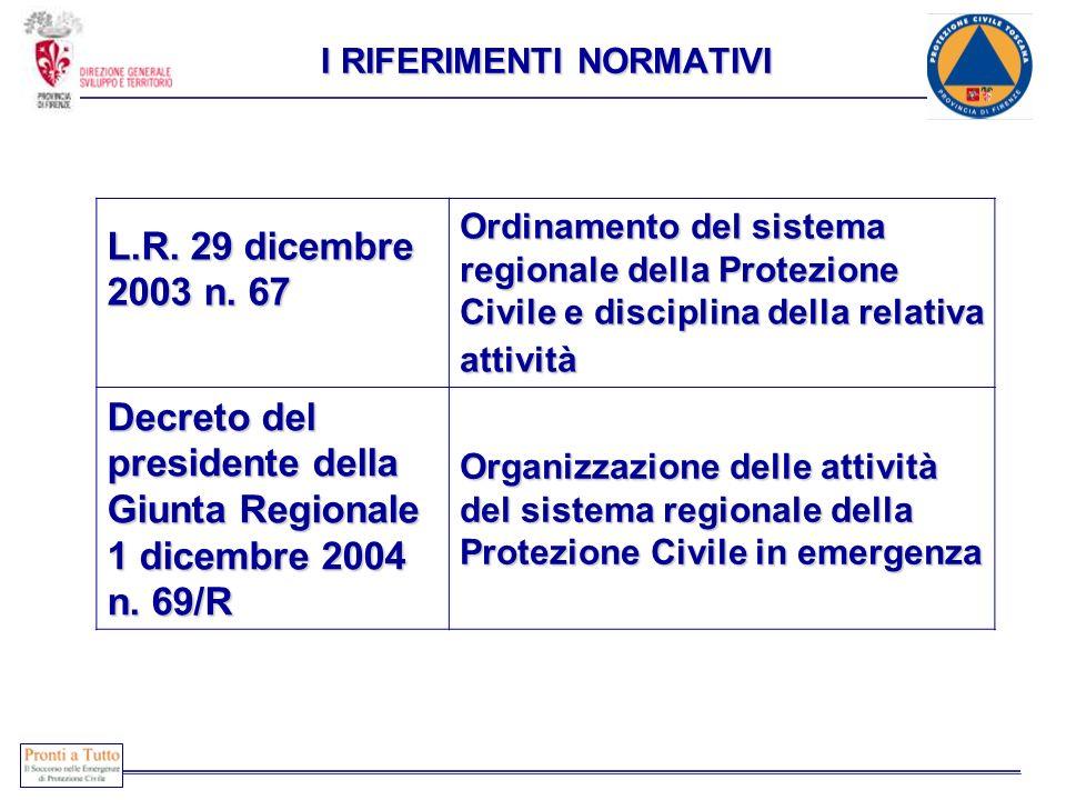 COONE L.R. 29 dicembre 2003 n. 67 Ordinamento del sistema regionale della Protezione Civile e disciplina della relativa attività Decreto del president