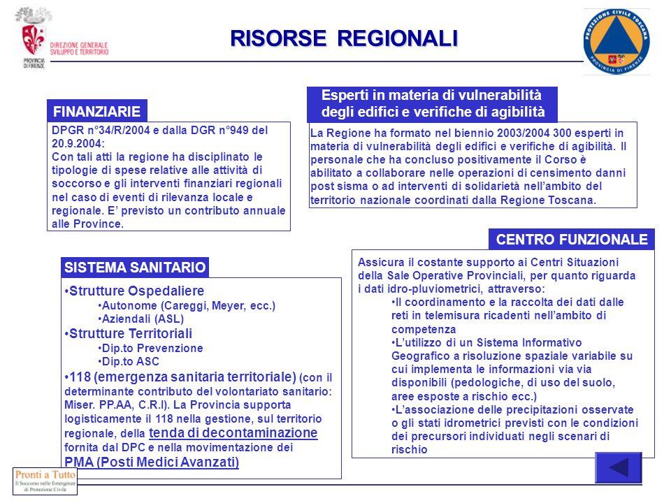 FINANZIARIE DPGR n°34/R/2004 e dalla DGR n°949 del 20.9.2004: Con tali atti la regione ha disciplinato le tipologie di spese relative alle attività di