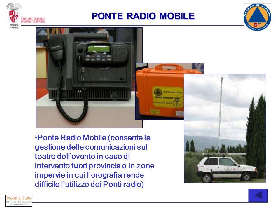 Immediatamente attivabili COMPOSIZIONE Ponte Radio Mobile (consente la gestione delle comunicazioni sul teatro dellevento in caso di intervento fuori