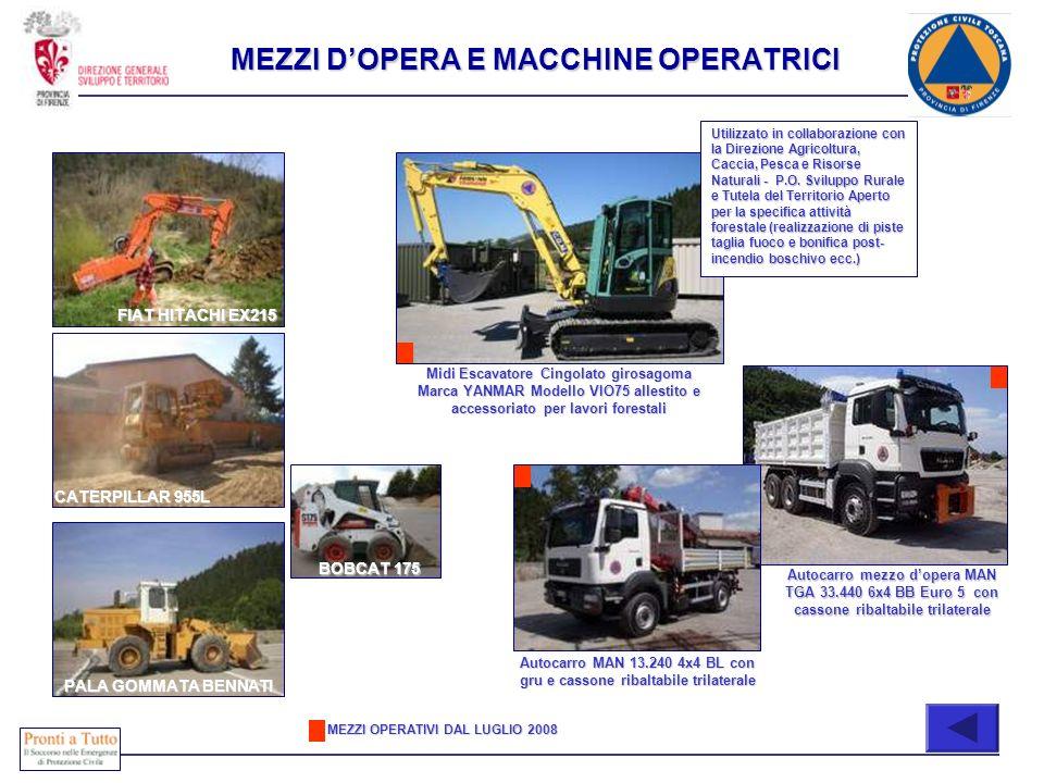 PALA GOMMATA BENNATI FIAT HITACHI EX215 CATERPILLAR 955L MEZZI DOPERA E MACCHINE OPERATRICI Autocarro MAN 13.240 4x4 BL con gru e cassone ribaltabile