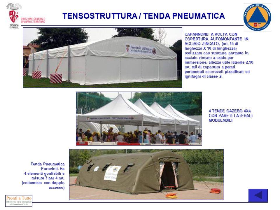 TENSOSTRUTTURA / TENDA PNEUMATICA CAPANNONE A VOLTA CON COPERTURA AUTOMONTANTE IN ACCIAIO ZINCATO, (ml. 14 di larghezza X 18 di lunghezza) realizzato