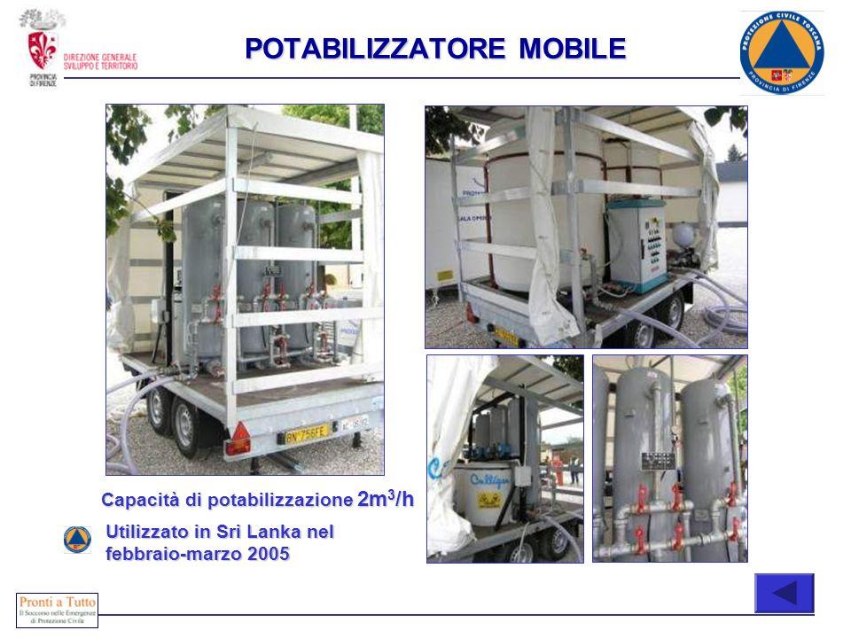Immediatamente attivabili COMPOSIZIONE Capacità di potabilizzazione 2m 3 /h Utilizzato in Sri Lanka nel febbraio-marzo 2005 POTABILIZZATORE MOBILE