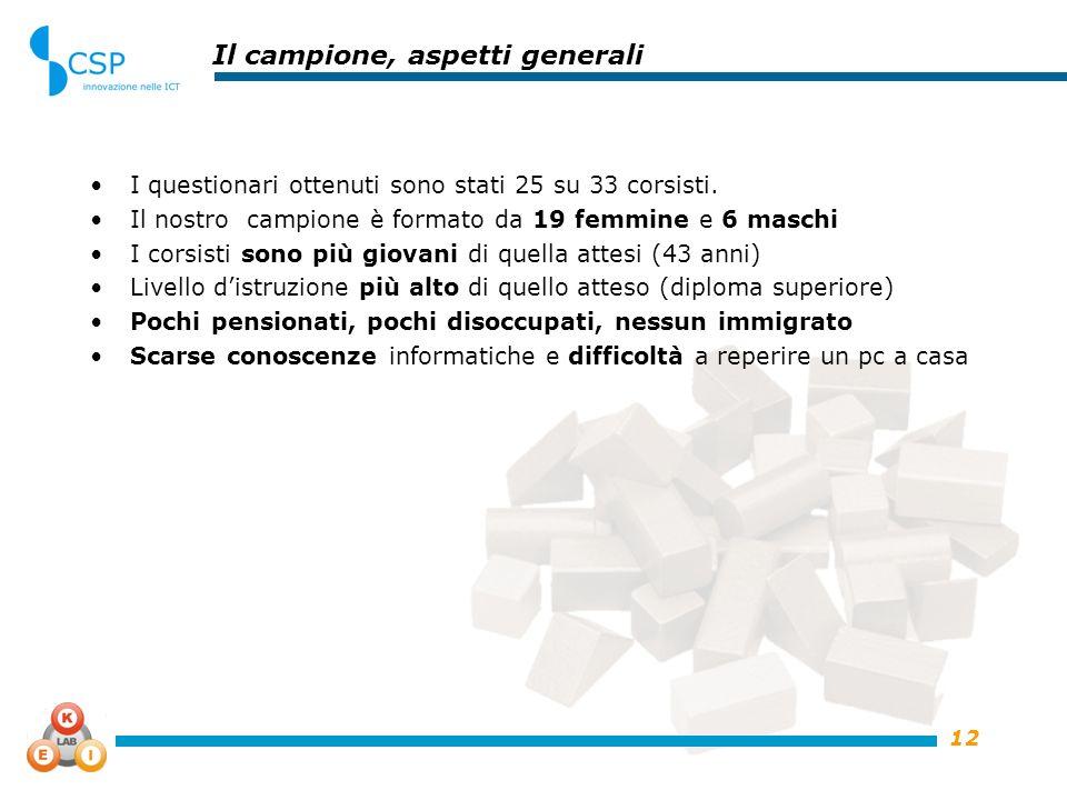 12 Il campione, aspetti generali I questionari ottenuti sono stati 25 su 33 corsisti. Il nostro campione è formato da 19 femmine e 6 maschi I corsisti