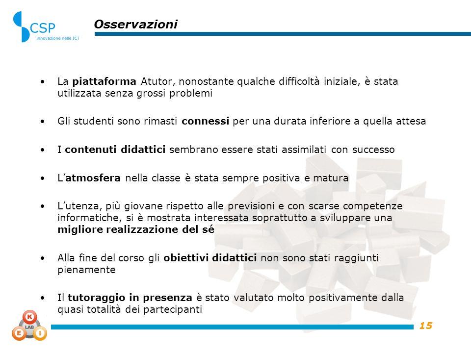 15 Osservazioni La piattaforma Atutor, nonostante qualche difficoltà iniziale, è stata utilizzata senza grossi problemi Gli studenti sono rimasti conn