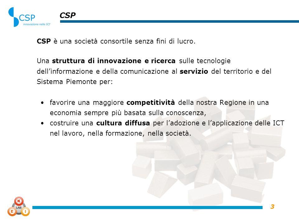 3 CSP CSP è una società consortile senza fini di lucro. Una struttura di innovazione e ricerca sulle tecnologie dellinformazione e della comunicazione