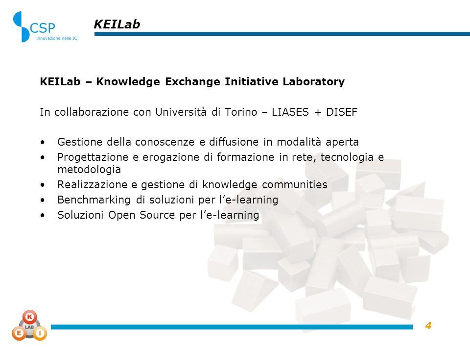 4 KEILab KEILab – Knowledge Exchange Initiative Laboratory In collaborazione con Università di Torino – LIASES + DISEF Gestione della conoscenze e diffusione in modalità aperta Progettazione e erogazione di formazione in rete, tecnologia e metodologia Realizzazione e gestione di knowledge communities Benchmarking di soluzioni per le-learning Soluzioni Open Source per le-learning