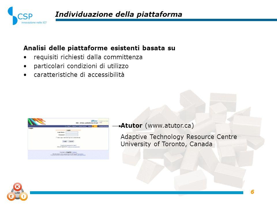 6 Individuazione della piattaforma Analisi delle piattaforme esistenti basata su requisiti richiesti dalla committenza particolari condizioni di utili
