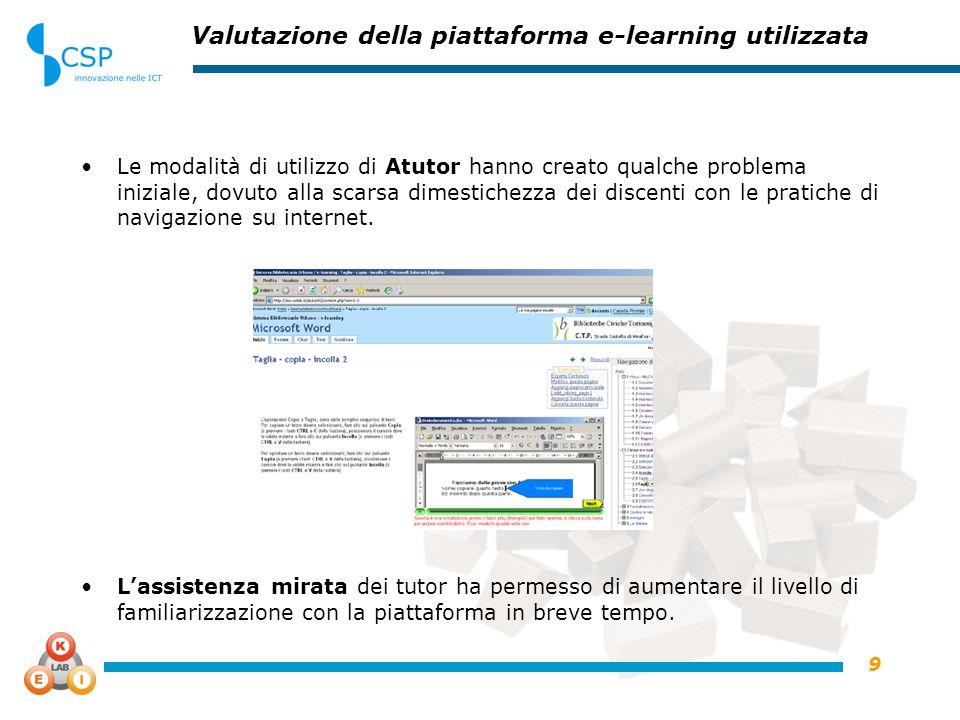 9 Valutazione della piattaforma e-learning utilizzata Le modalità di utilizzo di Atutor hanno creato qualche problema iniziale, dovuto alla scarsa dimestichezza dei discenti con le pratiche di navigazione su internet.