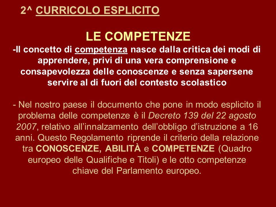 2^ CURRICOLO ESPLICITO LE COMPETENZE -Il concetto di competenza nasce dalla critica dei modi di apprendere, privi di una vera comprensione e consapevo