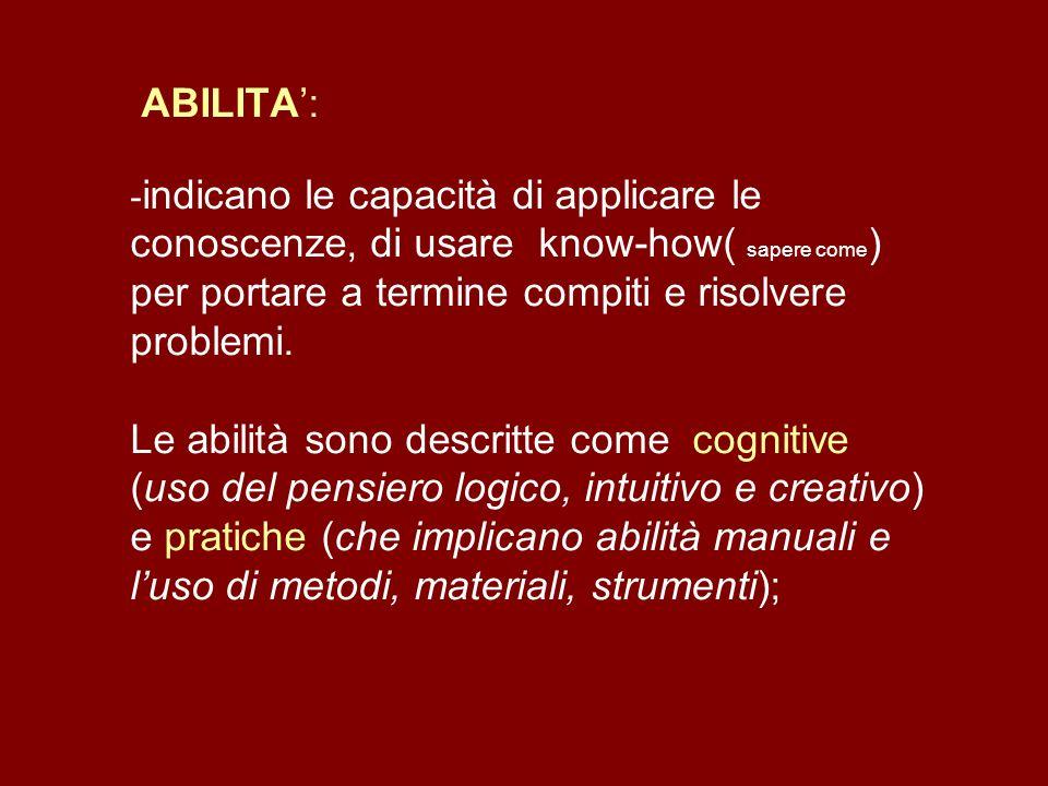 ABILITA: - indicano le capacità di applicare le conoscenze, di usare know-how( sapere come ) per portare a termine compiti e risolvere problemi. Le ab