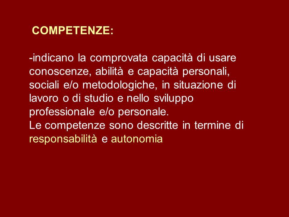 COMPETENZE: -indicano la comprovata capacità di usare conoscenze, abilità e capacità personali, sociali e/o metodologiche, in situazione di lavoro o d