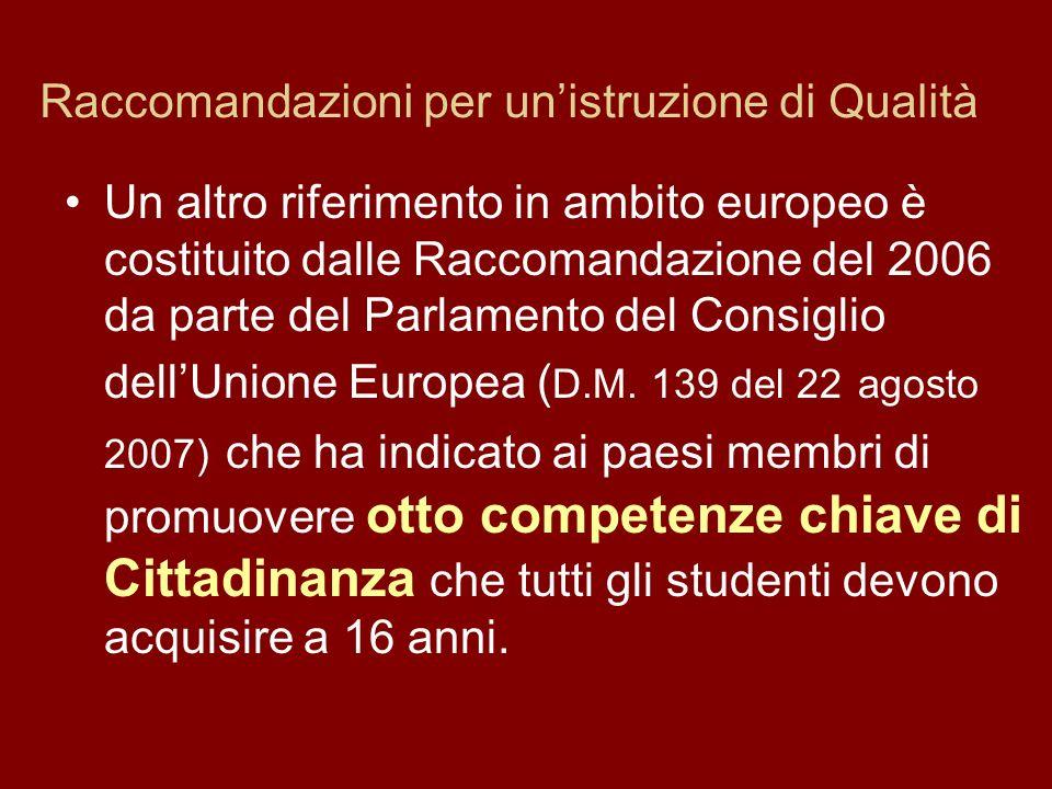 Raccomandazioni per unistruzione di Qualità Un altro riferimento in ambito europeo è costituito dalle Raccomandazione del 2006 da parte del Parlamento