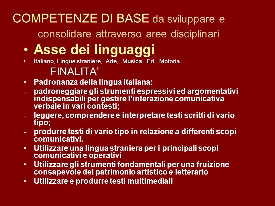COMPETENZE DI BASE da sviluppare e consolidare attraverso aree disciplinari Asse dei linguaggi Italiano, Lingue straniere, Arte, Musica, Ed. Motoria F
