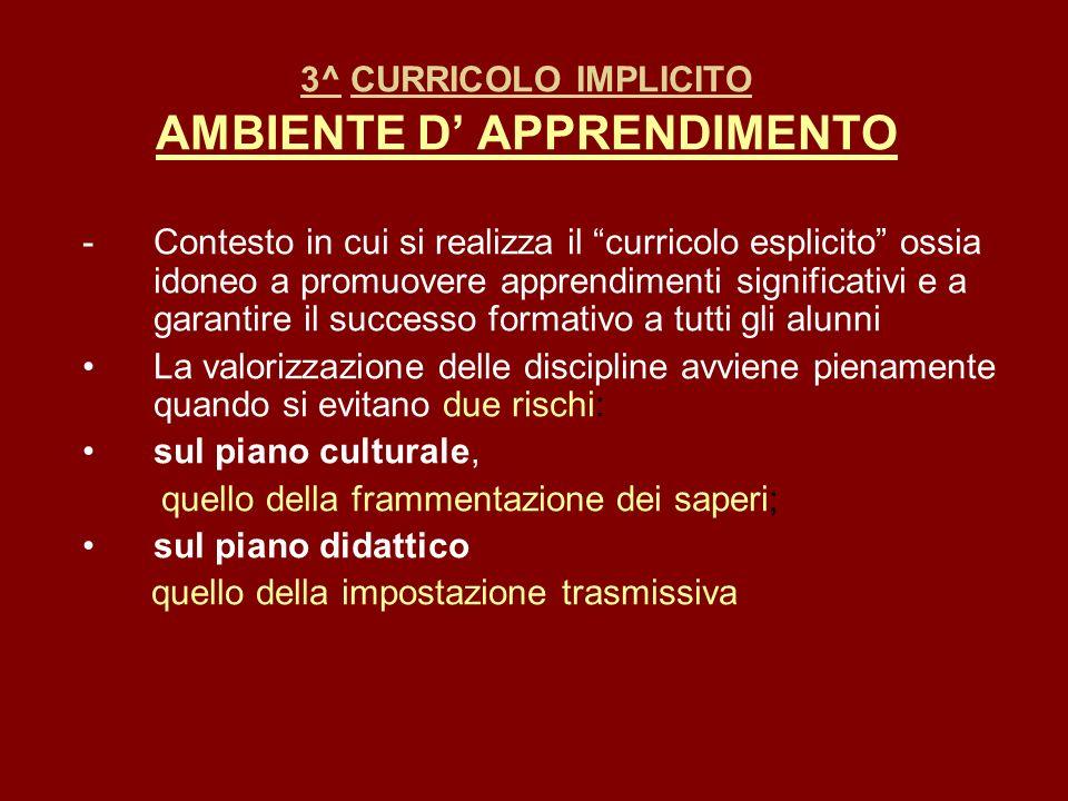3^ CURRICOLO IMPLICITO AMBIENTE D APPRENDIMENTO -Contesto in cui si realizza il curricolo esplicito ossia idoneo a promuovere apprendimenti significat