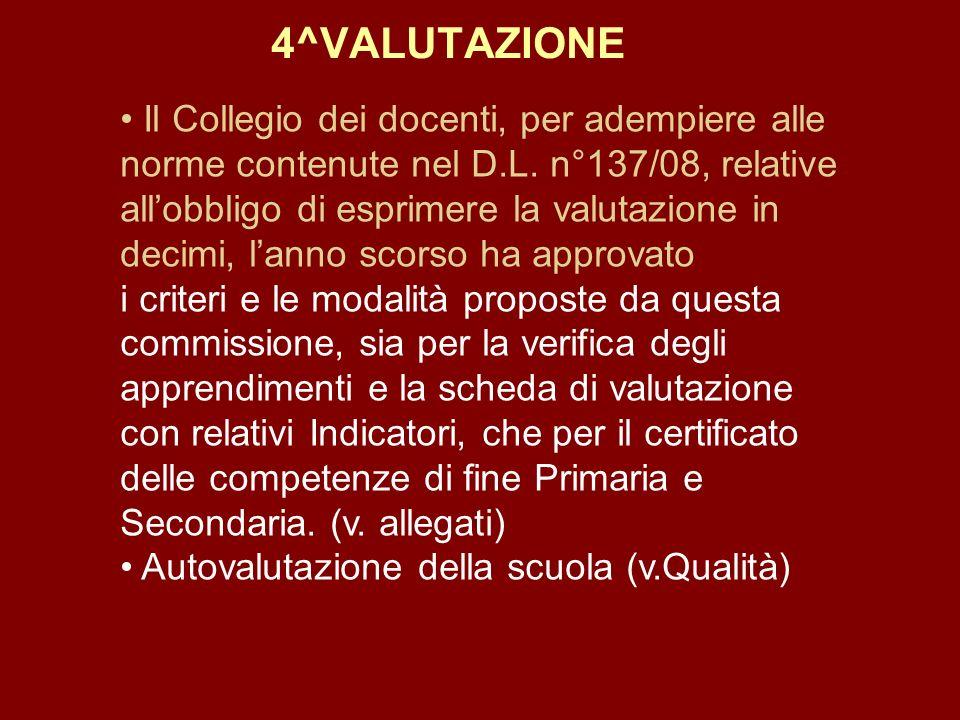 4^VALUTAZIONE Il Collegio dei docenti, per adempiere alle norme contenute nel D.L. n°137/08, relative allobbligo di esprimere la valutazione in decimi