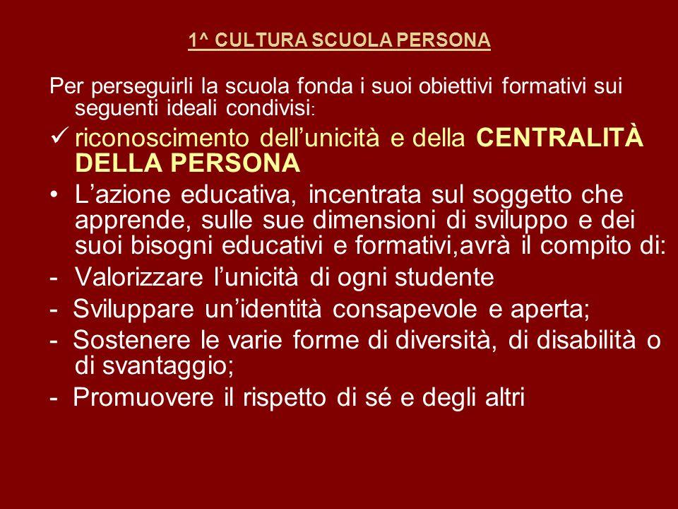 1^ CULTURA SCUOLA PERSONA Per perseguirli la scuola fonda i suoi obiettivi formativi sui seguenti ideali condivisi : riconoscimento dellunicità e dell