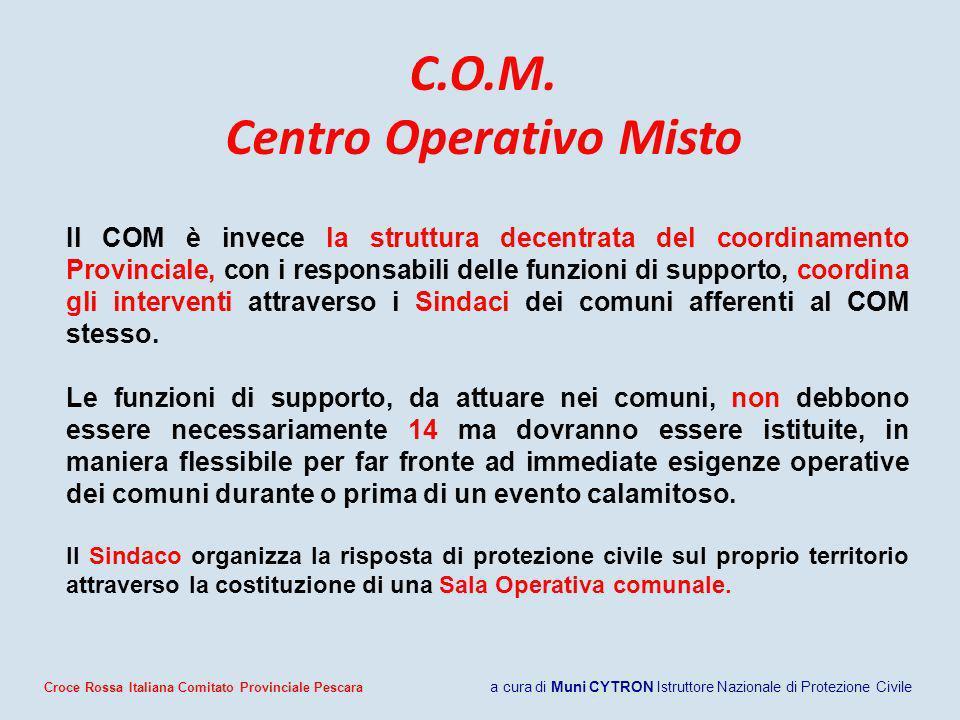 C.O.M. Centro Operativo Misto Il COM è invece la struttura decentrata del coordinamento Provinciale, con i responsabili delle funzioni di supporto, co