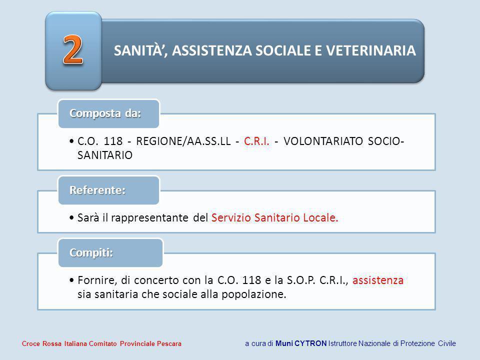 SANITÀ, ASSISTENZA SOCIALE E VETERINARIA C.O. 118 - REGIONE/AA.SS.LL - C.R.I. - VOLONTARIATO SOCIO- SANITARIO Composta da: Sarà il rappresentante del