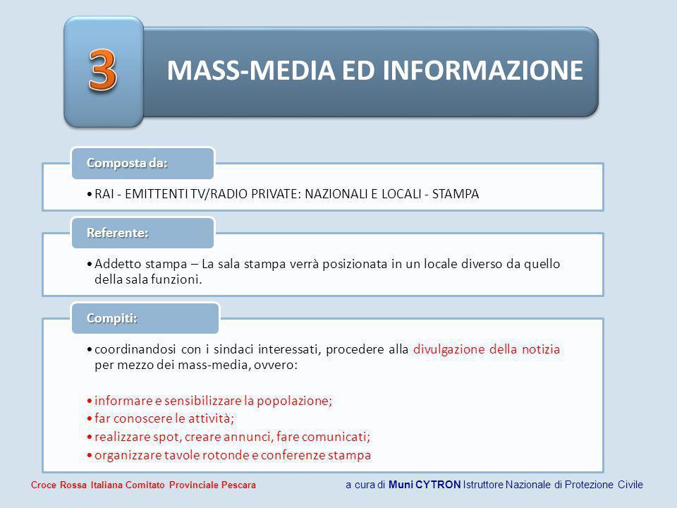 MASS-MEDIA ED INFORMAZIONE RAI - EMITTENTI TV/RADIO PRIVATE: NAZIONALI E LOCALI - STAMPA Composta da: Addetto stampa – La sala stampa verrà posizionat