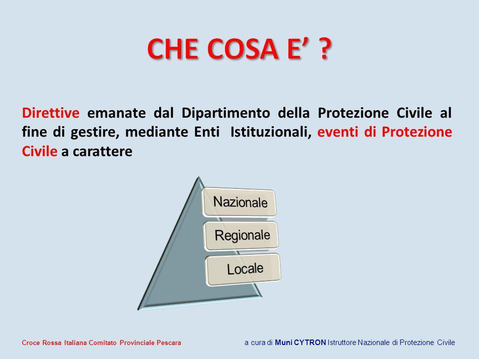 Direttive emanate dal Dipartimento della Protezione Civile al fine di gestire, mediante Enti Istituzionali, eventi di Protezione Civile a carattere Cr